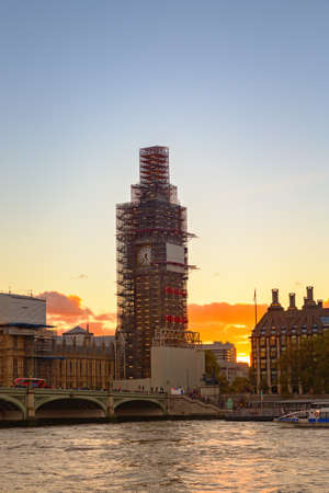 Big Ben, under construction, London in sunset