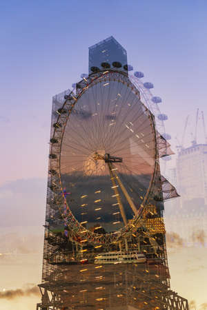 London, United Kingdom - October 26th 2018: Double exposure of the London Eye and Big Ben in sunset