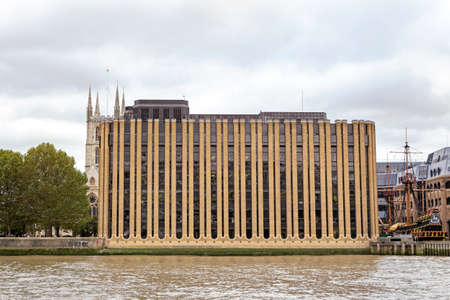 London, United Kingdom - October 27th 2018: Minerva house built between 1979 and 1983 as the London office of Grindlays Bank,  on the River Thames Editorial