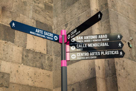 Sign showing touristc attractions in Las Palmas de Gran Canaria, Las Palmas, Spain