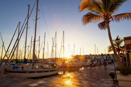 Sunset in beautiful Puerto de Mogan, Canary Islands, Spain