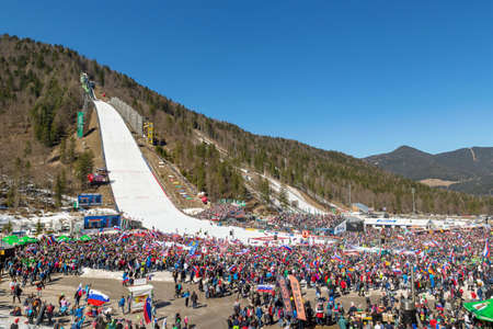 Planica, Slovenia - March 23rd, 2019: People gathered for FIS Ski Jumping World Cup Team Competition 2019 in Planica, Slovenia