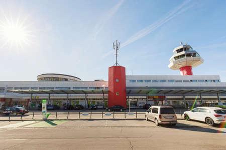 View to the Klagenfurt Airport- Kärnten Airport, international airport near Klagenfurt, Austria. Éditoriale