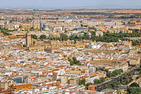 Aerial view of downtown Seville, Spain Stock Photo