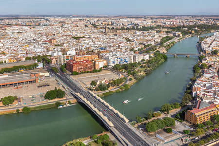Aerial view of beautiful Seville city centre and its landmarks, Spain