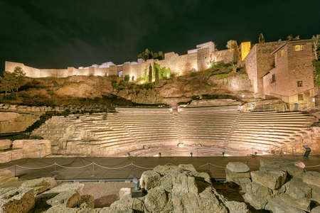 Roman Theatre in Malaga at night