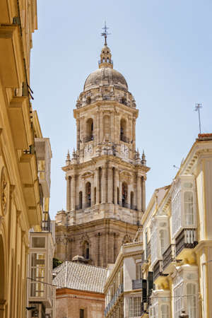 Bell tower of the Malaga Cathedral or Catedral de la Encarnación in Malaga, Andalusia Southern Spain Stock Photo