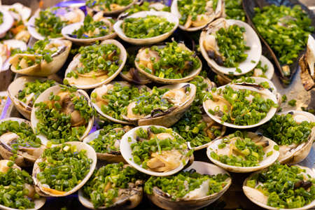 Close-up of seafood at the night market in Phu Quoc, Vietnam