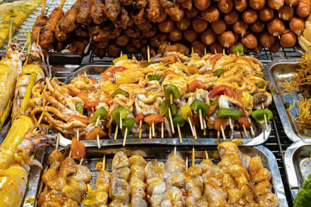 Detail of the street food at night market in Phu Quoc island, Vietnam