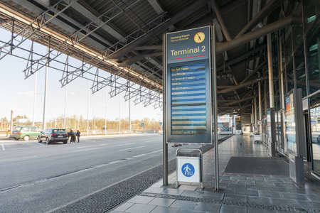 Hamburg, Germany - March 29 2020: Notification for the passengers on the airport in Hamburg during the Corona pandemic, both on german and english saying all departures are on the terminal 1