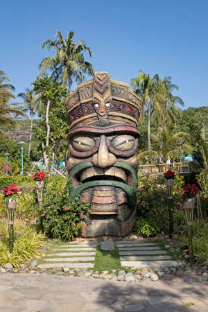 Hon Thom island, Phu Quoc, Vietnam - January 20th 2020: One of the wooden sculptures in  Hon Thom island also known as the Pinneapple island Sajtókép