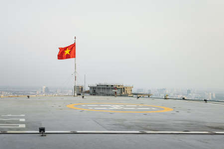 Heliport with a flag of Vietnam Stock fotó