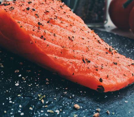 raw marinated salmon - healthy eating and mediterranean cuisine recipes styled concept, elegant visuals