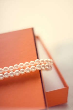 Chic pearl jewellery in a present box - Valentine's day ideas, luxury shopping and holiday inspiration concept. The perfect gift for her
