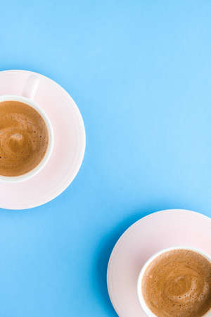 Breakfast, drinks and modern lifestyle concept - Hot aromatic coffee on blue background, flatlay Stock fotó