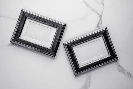 Photo album, artwork mock up, vintage design concept - Black wooden frame on marble, flatlay Stock Photo