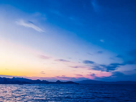 Summer vacation, mobile photography and coastal night concept - Sunset on the coast, beautiful sea view background