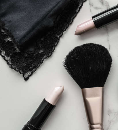 Make-up and cosmetics products on marble, flatlay background - modern feminine lifestyle, beauty blog and fashion inspiration concept Reklamní fotografie