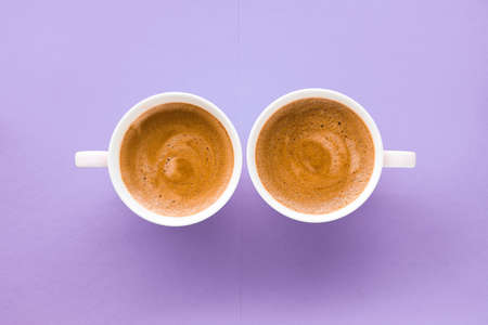 Breakfast, drinks and cafe menu concept - Coffee cup on purple background, top view flatlay