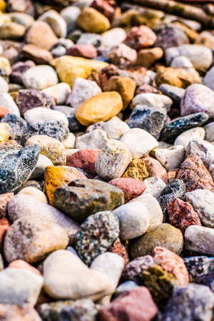 Landscape architecture, interior design and nature elements concept - Stone pebbles background texture, landscape architecture