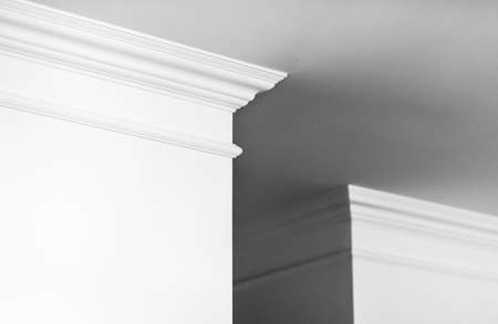 House renovation, home decoration and real estate concept - Molding on ceiling detail, interior design and architectural abstract background 스톡 콘텐츠