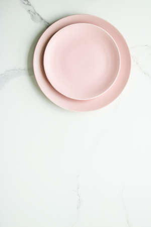 Pink empty plate on marble, flatlay - stylish tableware, table decor and food menu concept. Serve the perfect dish