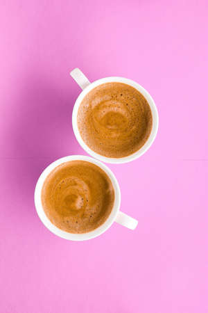 Drinks menu, italian espresso recipe and organic shop concept - Cup of hot french coffee as breakfast drink, flatlay cups on pink background