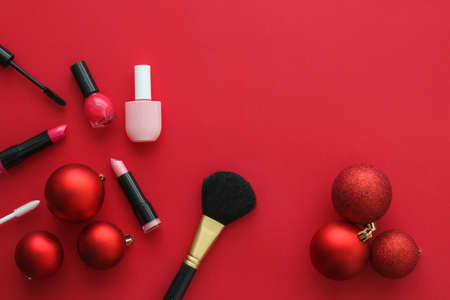 Cosmetic branding, fashion blog cover and girly glamour concept - Make-up and cosmetics product set for beauty brand Christmas sale promotion, luxury red flatlay background as holiday design