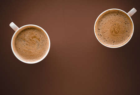 Drinks menu, italian espresso recipe and organic shop concept - Cup of hot coffee as breakfast drink, flatlay cups on brown background Stock fotó