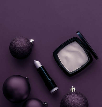 Cosmetic branding, fashion blog cover and girly glamour concept - Make-up and cosmetics product set for beauty brand Christmas sale promotion, luxury plum flatlay background as holiday design