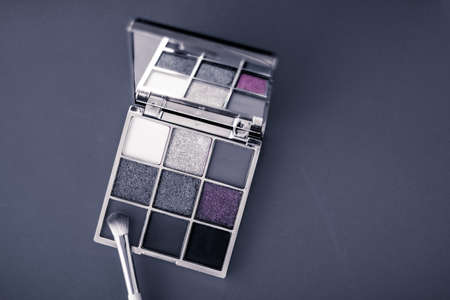 Cosmetic branding, mua and girly concept - Eyeshadow palette and make-up brush on graphite background, eye shadows cosmetics product for luxury beauty brand promotion and holiday fashion blog design