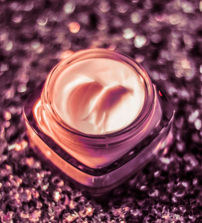 Cosmetic branding, sunscreen spf and facial care concept - Luxury face cream for healthy skin on shiny glitter sunlight background, moisturizing cosmetics and natural skincare beauty brand product