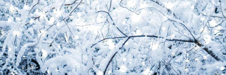 Snowing landscape, greeting card design and New Years Eve travel concept - Winter holiday background, nature scenery with shiny snow and cold weather in forest at Christmas time