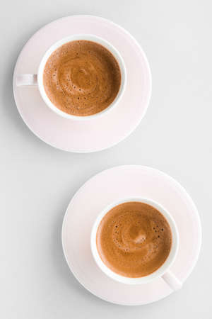 Drinks menu, italian espresso recipe and organic shop concept - Cup of hot french coffee as breakfast drink, flatlay cups on white background