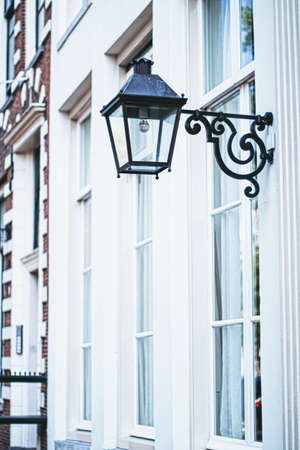 Architectural detail of a building on the main city center street of Amsterdam in Netherlands, european architecture Foto de archivo