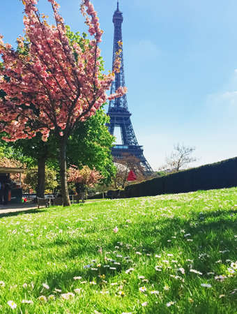 Eiffel Tower and blue sky, famous landmark in Paris, France in spring