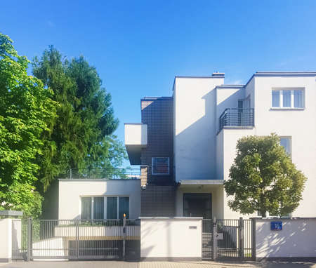 Warsaw, Poland circa May, 2020: Private residential house in historical neighborhood