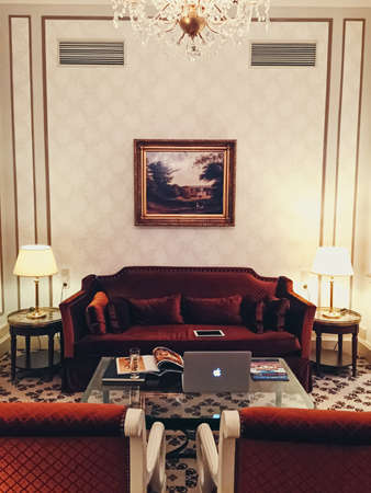 Brussels, Belgium circa January, 2020: Interior design of a room in five star Hotel Metropole in Brussels, Belgium