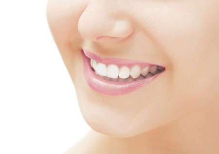 Perfect smile and healthy white natural teeth, happy smiling for dental and beauty ads Stock Photo