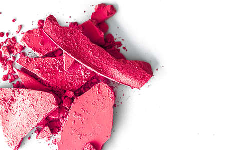 Pink eye shadow powder as makeup palette closeup isolated on white background, crushed cosmetics and beauty textures 写真素材