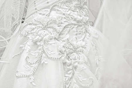 Wedding dresses in a bridal shop, fashion and style brand 免版税图像