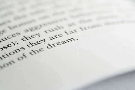Macro closeup of an open book, education and studies