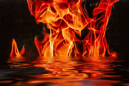Hot fire flames in water as nature element and abstract background, minimal design