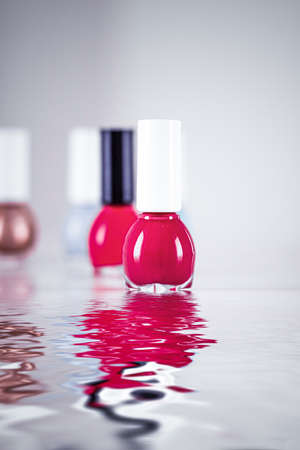 Nail polish bottles for manicure and pedicure, beauty and cosmetic products