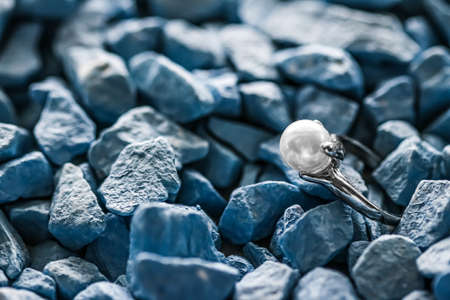 Pearl ring closeup, jewelry and accessory brands Banco de Imagens