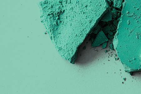 Mint eye shadow powder as makeup palette closeup, crushed cosmetics and beauty textures