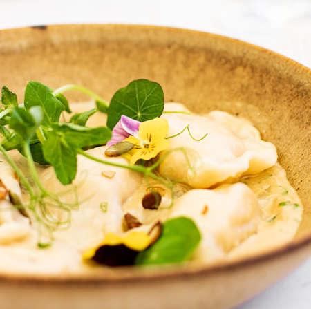 Traditional cuisine, culinary and gourmet travel, homemade dumplings in mushroom sauce recipe, polish pierogi in luxury restaurant in Old Town