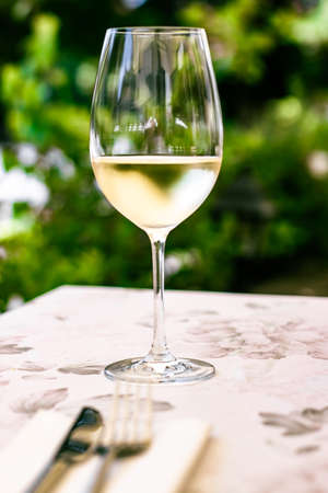 White wine in luxury restaurant on summer garden terrace, wine tasting experience at winery in the vineyard, gourmet tour and holiday travel Standard-Bild