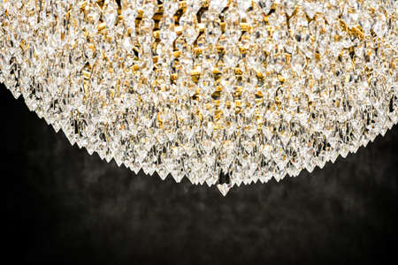 Crystal glass chandelier as home decor, interior design and luxury furniture detail, holiday invitation card background Standard-Bild