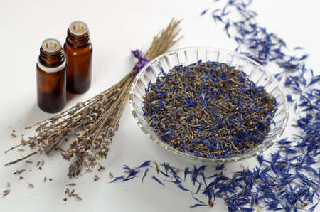 dried herbs: Dried herbs and essential oils